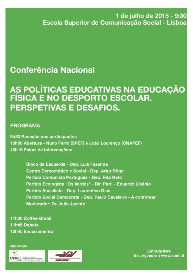 Programa Conferência Nacional 1 de Julho 2015 1