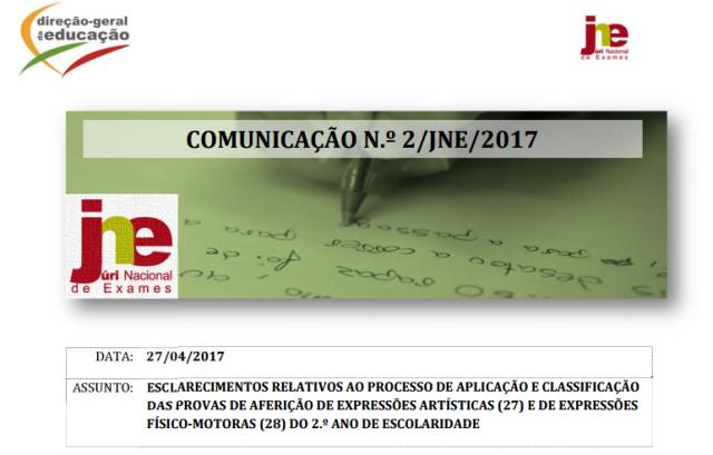 Comunicação n.º 2_JNE_2017 - Aplicação e classificação das provas de aferição de Expressões Artísticas e Expressões Físico-Motoras