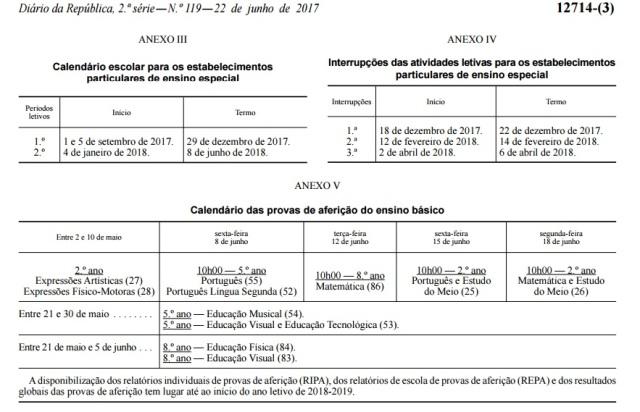 Provas de Aferição a realizar no ano letivo 2017_2018